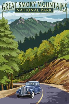 Great Smoky Mountains National Park, Tennesseee - Chimney Tops & Road - Lantern Press Artwork (Art Print Available) Us National Parks, Parc National, Great Smoky Mountains, Voyage Usa, Smoky Mountain National Park, Smokey Mountain, Art Graphique, Parcs, Vintage Travel Posters