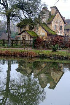 Hameau de la Reine (The Queen's Hamlet) in the park of the Château de Versailles, built for Marie Antoinette in 1783 near the Petit Trianon in the Yvelines, France.