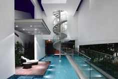 Angin Laut by Hyla Architects for my future house in my imagination where i'm secretly a millionaire.:Pfor my future house in my imagination where i'm secretly a millionaire. Indoor Pools, Future House, Piscina Interior, Dream Pools, Cool Pools, Awesome Pools, House Goals, Stairways, My Dream Home