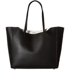 Furla Fantasia Medium Tote (Onyx) Tote Handbags ($210) ❤ liked on Polyvore featuring bags, handbags, tote bags, black, structured tote handbag, furla handbags, furla tote, medium tote and tote handbags