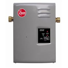 Rheem RTE 13 Electric Tankless Water Heater, 4 GPM On-unit temperature control LEDs indicate active element and standby mode Standard water connection Rugged brass/copper heat exchanger Modulating power Rv Water Heater, Web Design, Warm Home Decor, Thing 1, The Ordinary, Tiny House, Hot House, Locker Storage, Shower