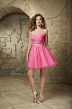 Cute Strapless Short Pink Tulle A Line Cocktail Homecoming Dress Css0063