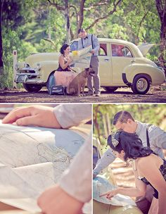 I love the top photo with the dog and a map! Great idea for engagement photos.