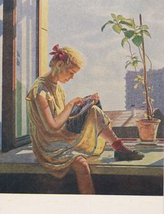 A. Laktionov Embroidering Postcard  1955 by RussianSoulVintage