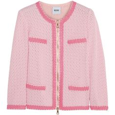 Moschino Cheap and Chic Open waffle-knit cotton-blend jacket ($548) ❤ liked on Polyvore featuring outerwear, jackets, tops, coats, baby pink, faux-leather jacket, pink jacket, zipper jacket, zip jacket and embroidered jackets