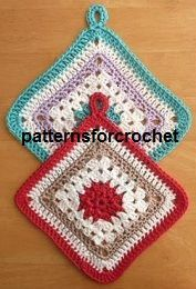 FREE Granny Square Potholder Crochet Pattern, from http://www.patternsforcrochet.co.uk/cotton-pot-holder-usa.html easy to follow written in USA & UK formats.