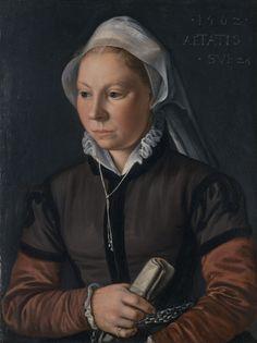 Joachim Beuckelaer Netherlandish, c. 1535-c. 1574  Portrait of a Young Woman, 1562  Oil on panel 16 3/4 x 12 3/4 in. (42.5 x 32.3 cm) Inscribed upper right: .1562./ AETATIS / . SVE 24