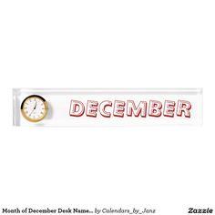 Month of December Desk Nameplate by Janz