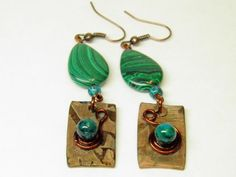 One of a Kind Artisan Handcrafted Hammered Copper Earrings with Genuine Malachite Gem Stones, and Hand Forged Copper Spirals of Life. by MelancholyMind