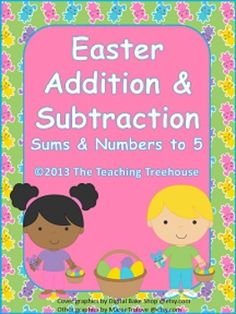 18 Easter themed addition & subtraction worksheets, sums/numbers to 5. Adding and subtracting using pictures. For beginning level skills; Pre-K/Kindergarten. Horizontal and vertical problems. $ Color and black & white versions included.