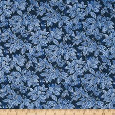 Timeless Treasures Winter Frost Glitter Leaves Navy Fabric
