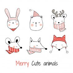 Find Drawn Vector Collection Head Happy Animals stock images in HD and millions of other royalty-free stock photos, illustrations and vectors in the Shutterstock collection. Thousands of new, high-quality pictures added every day. Christmas Doodles, Christmas Card Crafts, Christmas Drawing, Xmas Cards, Christmas Art, Christmas Ornaments, Doodle Drawings, Doodle Art, Easy Drawings