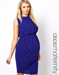 Vestido a media pierna con detalle fruncido de ASOS Maternity. Color azul.