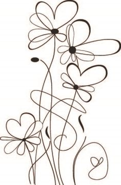 Drawing Doodles Sketches Sketch Daisies - - Coordinating Die Cut below. Doodle Drawings, Doodle Art, Easy Drawings, Doodle Sketch, Wire Crafts, Paper Crafts, Embroidery Patterns, Machine Embroidery, Plant Drawing