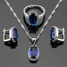 Blue Stones White CZ Silver Color Jewelry Sets For Women Necklace Pendant Hoop Earrings Rings Free Gift Box