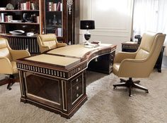 Timeless elegance for this luxury office in Ziricote finishing with silver leaf decorations, where style and functionality are the main features Office Furniture Design, Office Interior Design, Office Interiors, Home Furniture, Law Office Decor, Home Office Layouts, Ecole Boulle, Luxury Office Chairs, Caracole Furniture