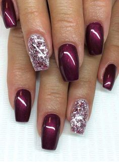 """Deep wine with """"dew drop"""" nail art with coral polish and bronze sparkles Related Postscute & easy nail art designs white nail art designs summer nail art … Continue reading 70 + Cute Simple Nail Designs 2017 → Nail Designs 2017, Fall Nail Designs, Burgundy Nail Designs, Cute Simple Nails, Cute Nails, Simple Art, Simple Blog, Fancy Nails, Trendy Nails"""