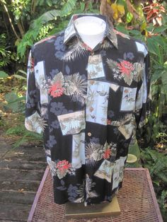 ab88917b Hawaiian ALOHA shirt L pit to pit 24 NATURAL ISSUE tropical birds palms  beach #NaturalIssue #ButtonFront