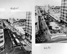Two views of Lincoln Road - Miami Beach, Florida: The two views in the photograph show Lincoln Road before and after being converted into a pedestrian mall in the 1960s. This view was taken from Washington Avenue looking toward Euclid Avenue