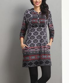 Loving this Charcoal Damask Notch Neck  Pin-Tuck Tunic on #zulily! #zulilyfinds