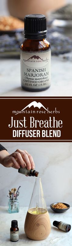 Just Breathe Diffuser Blend recipe by Mountain Rose Herbs Poison Ivy Essential Oils, Marjoram Essential Oil, Home Teeth Whitening Kit, Herb Shop, Mountain Rose Herbs, Cosmetic Treatments, Just Breathe, Diffuser Blends