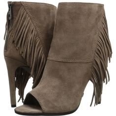 Dolce Vita Hanover Women's Shoes ($220) ❤ liked on Polyvore featuring shoes, boots, ankle booties, mid-calf boots, fringe boots, open toe booties, suede mid calf boots, suede ankle boots and suede booties