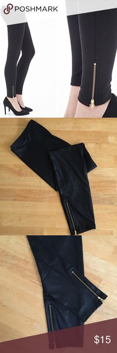 """Forever 21 Faux Leather Zippered Ankle Leggings Forever 21 Black Faux Leather Leggings with Gold Zipper Detail at Ankles. Shell - 90% Polyester & 10% Spandex/Elastane. Coating - 100% Polyurethane. Hand Wash Cold.                   Measurements (unstretched):  Waist 15"""", Hip 19"""", Inseam 27"""" and Length 38"""". Brand New, Never Worn (NWOT). Forever 21 Pants Leggings"""