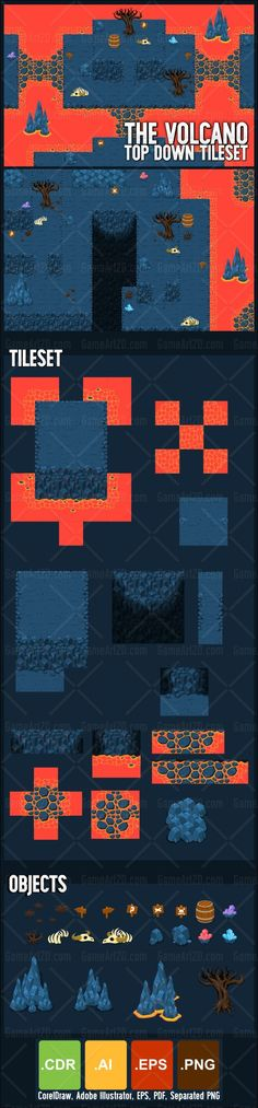 Set of tiles to create a map for top-down games. With volcano, magma, hot lava, & underground cave theme.  Suitable to create RPG games #game #assets #tileset #volcano #lava #sprites