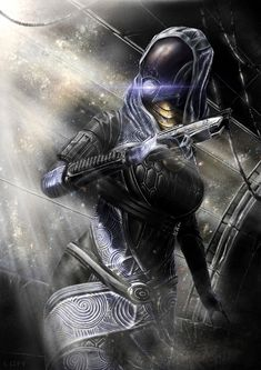 Tali'Zorah nar Rayya is a quarian and a member of Commander Shepard's squad. She is the daughter of Rael'Zorah, a member of the Admiralty Board. Though young, Tali is a mechanical genius.  In 2183, she is on her Pilgrimage, a rite of passage to prove her worth and bring something of value back to her people aboard the Migrant Fleet. In 2185, having completed her Pilgrimage, Tali has been entrusted with leading an important research mission for the Admiralty Board.