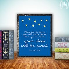 Nursery Bible verse print, Christian scripture wall art decor poster - Proverbs 3:24 inspirational quote digital typography