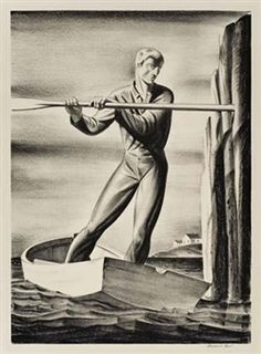 Rockwell Kent Stone Lithograph 1929 The Boatman American Print Robert Henri, Rockwell Kent, New York School, White Whale, Family Crest, New Shows, American Artists, Art Museum, Diligence