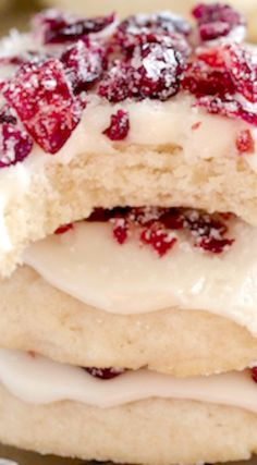 Frosted Cranberry Cookies ~ Glorious soft cranberry shortbread cookies ...