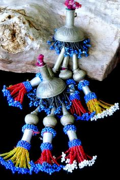 KUCHI TASSELS PAIR - Large Tribal Tassels with Old Beads by TribalMuse on Etsy