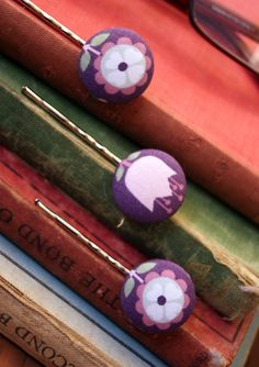 Fabric Covered Button Bobby Pins Purple Flowers by BacinoBoutique