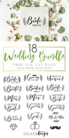 Free 18 Wedding SVG cut file bundle download- compatible with Cameo Silhouette, Cricut and other major cutting machines. Wedding SVG cut file, Bride SVG cut file, groom SVG cut file, bridesmaid SVG cut file, Mr. & Mrs. SVG cut file, ring SVG cut file, free SVG cut file, free wedding SVG cut file