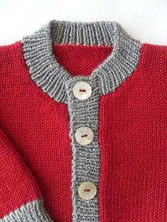 Childrens Cardigan 100% Merino wool Ruby Red & by ToutPetitUK