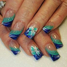 Nice easy nail art designs 2016 Are you tired of single-toned nails and the same old and boring patterns? Looking for some nail art inspiration? Get ready for some manicure magic with these hot and amazing nail art designs. Nail Art Designs 2016, Simple Nail Art Designs, Toe Nail Designs, Easy Nail Art, Acrylic Nail Designs, Green Nails, Blue Nails, Hawaiian Nails, Tropical Nail Art