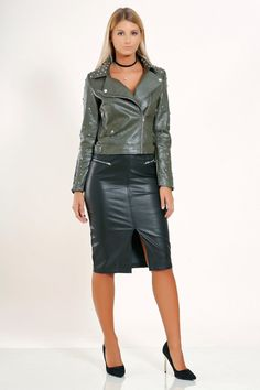 Green leather moto jacket and black leather pencil skirt