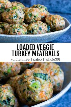 Veggie loaded turkey meatballs - the ultimate make ahead meal prep recipe. Life just got a little bit easier. Gluten free. Veggie loaded turkey meatballs - the ultimate make ahead meal prep recipe. Life just got a little bit easier. Clean Eating Recipes For Dinner, Clean Eating Snacks, Recipes Dinner, Eating Healthy, Breakfast Recipes, Paleo Breakfast, Dessert Recipes, Healthy Snacks Savory, Healthy Recipes For Dinner