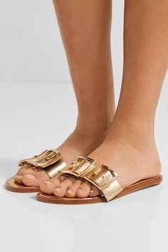 Tibi - Frida Metallic Leather Slides - Gold - IT