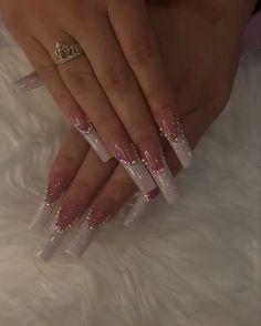 Acrylic Nails Coffin Pink, Long Square Acrylic Nails, Classy Acrylic Nails, Coffin Nails, Wedding Acrylic Nails, Drip Nails, Nagellack Design, Minimalist Nails, Nagel Gel