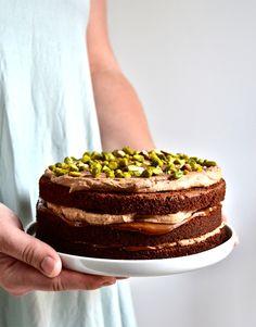 Layer cake chocolat, dulce de leche et ganache montée chocolat au lait