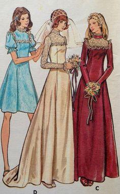 Vintage Wedding Dress Pattern, Butterick 3164, Size 16 Bust 38, 1970s Uncut Pattern on Etsy, $6.00