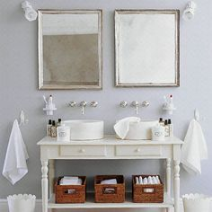 French-style bathroom  - loving the silver framed mirrors and free standing sink stand