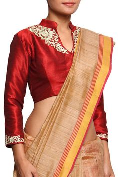 Poly Dupion Silk With Zari And Hand Embroidered Red Blouse