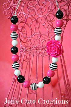 Black Striped Pink & White Bubblegum Necklace by JensCuteCreations, $14.00