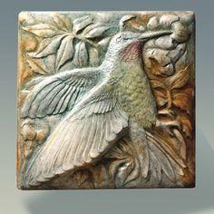 Valentine Gift, Hummingbird Stone Sculpture Tile,  Bas-relief Sculpture, Wall Art,  Art Tile, Home Decor, Elegant, Bird, Mythical