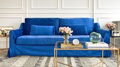 IKEA Farlov Sofa with Comfort Works Rouge Indigo blue velvet covers. Armchair Slipcover, Sofa Slipcovers, Ikea Sofa Covers, Blog Design Inspiration, Old Sofa, Types Of Sofas, Sofa Set, Sofa Design, Living Room