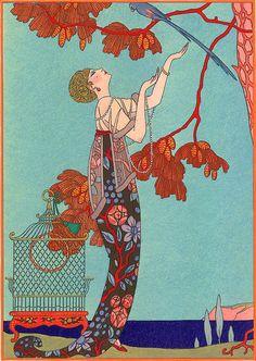 L'oiseau Volage by Georges Barbier    Barbier was quintessential nouveau and this piece has a stunning color palette.