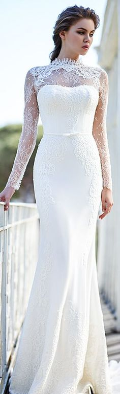 victoria f 2016 bridal high neck lace illusion neckline long sleeves beautiful sheath wedding dress #2016weddingdress #weddingdresses #weddings